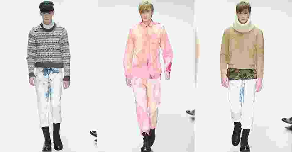 6 jan. 2014 - Modelos desfilam looks de Lou Dalton para o Inverno 2014 na semana de moda masculina de Londres - Getty Images