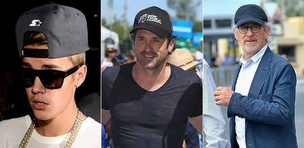 Os bonés podem ser usados de várias maneiras por homens de diferentes estilos e idades, como mostram Justin Bieber, Patrick Dempsey e Steven Spielberg - Getty Images