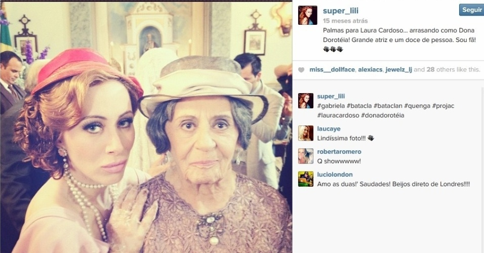 """Aline Moraes Dahlen Ganthz,  do """"BBB14"""", é atriz e usa o nome artístico de Liz Moraes. Ela atuou no remake da novela """"Gabriela"""" como uma das dançarinas do cabaré Bataclã. No seu Instagram, ela compartilhou uma fotos dos bastidores da trama ao lado de Laura Cardoso. A sister também atuou em outras produções da Globo, como """"Cobras e Lagartos"""", """"Pé na Jaca"""" e """"Tempos Modernos"""""""