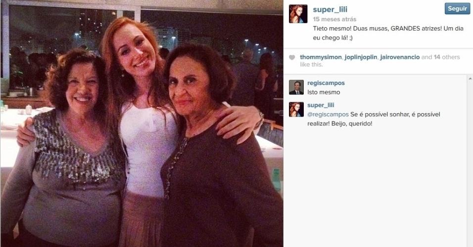 """Aline Moraes Dahlen Ganthz,  do """"BBB14"""", é atriz e usa o nome artístico de Liz Moraes. Ela atuou no remake da novela """"Gabriela"""" como uma das dançarinas do cabaré Bataclã. No seu Instagram, ela compartilhou uma fotos dos bastidores da trama ao lado de Neusa Maria Faro e Laura Cardoso. A sister também atuou em outras produções da Globo, como """"Cobras e Lagartos"""", """"Pé na Jaca"""" e """"Tempos Modernos"""""""