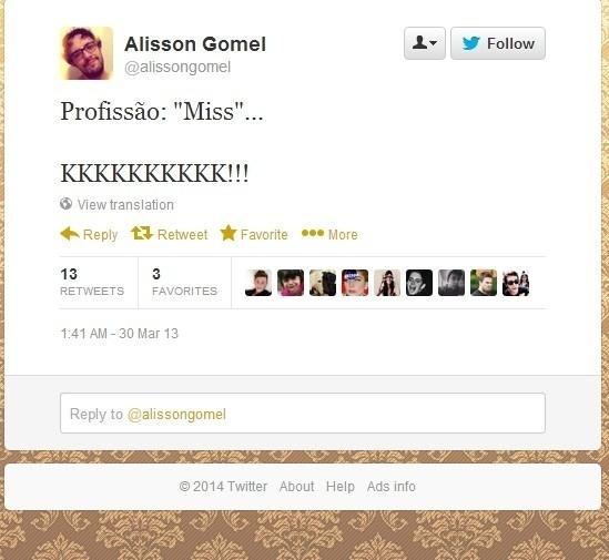 Alisson já alfinetou miss no passado. Mal sabia ele que estaria em um BBB com pelo menos duas delas