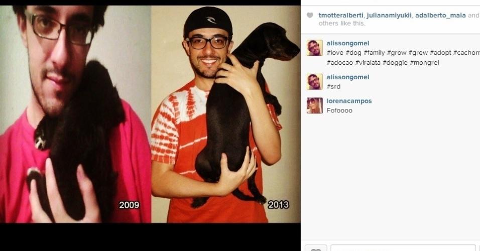 Em seu instagram, Alisson comemora o crescimento de sua cadelina, que foi adotada em 2009