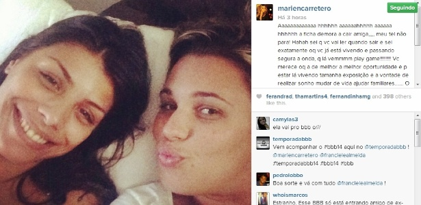 "Ex-BBB Marien deseja boa sorte para amiga Franciele Almeida do ""BBB14"""