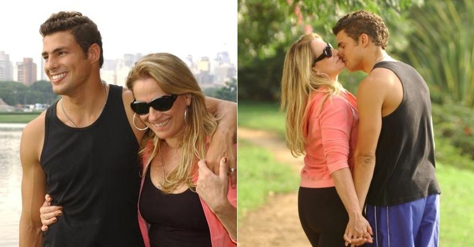 """Em 2005, Cauã estreou no horário nobre e interpretou o garoto de programa Mateus em """"Belíssima?"""" Na trama, devido ao ofício de michê, seu personagem envolvia-se somente com mulheres mais velhas, sendo uma delas a perua Ornella, de Vera Holtz"""
