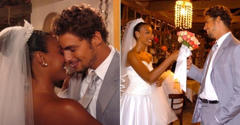 """Na novela """"Como uma Onda"""", também exibida em 2004, o ator encarnou o jovem pescador Floriano, que se casou com Rosário, personagem vivida por Sheron Menezzes"""