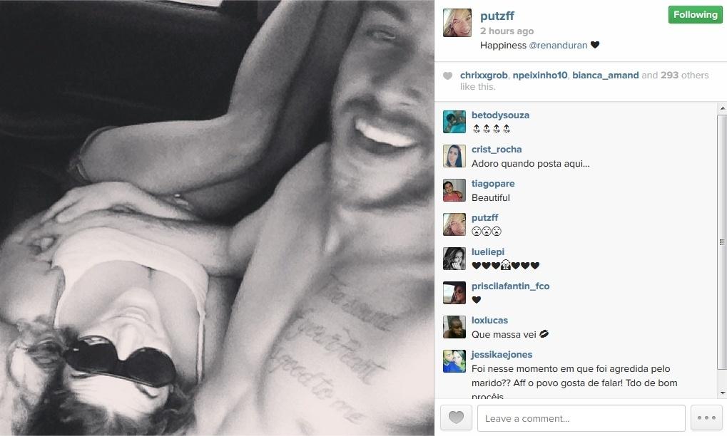 10.jan.2014 - Após suposta briga, Priscila Fantin publica foto deitada no colo do marido