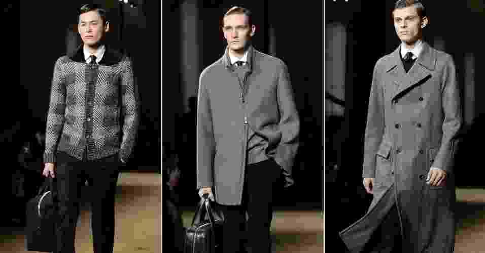 11.jan.2014 - Corneliani abriu os desfiles da semana de moda masculina de Milão - EFE/EPA/Daniel Dal Zennaro