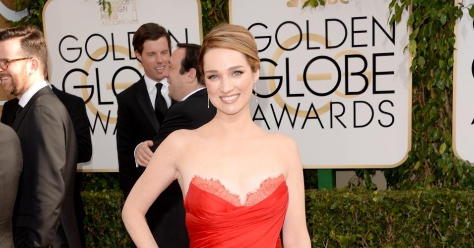 12.jan.2014 - A atriz Kristen Connoly chega para a edição 2014 do Globo de Ouro, em Beverly Hills