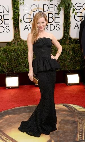 12.jan.2014 - A atriz Leslie Mann chega para a edição 2014 do Globo de Ouro, em Beverly Hills