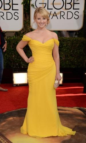 """12.jan.2014 - A atriz Melissa Rauch, de """"The Big Bang Theory"""", chega para a edição 2014 do Globo de Ouro, em Beverly Hills"""