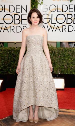 """12.jan.2014 - A atriz Michelle Dockery, de """"Downton Abbey"""", chega para a edição 2014 do Globo de Ouro, em Beverly Hills"""