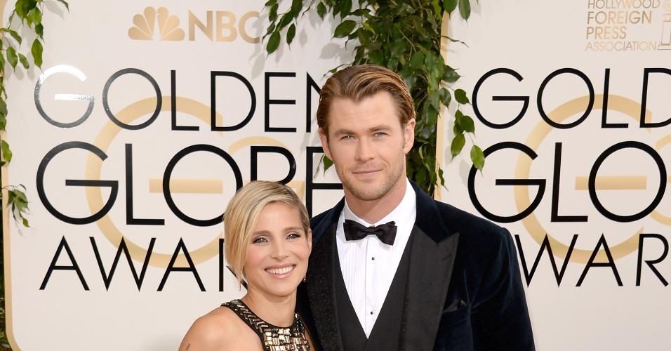 12.jan.2014 - Chris Hemsworth chega ao Globo de Ouro 2014 acompanhado da mulher, Elsa Pataky