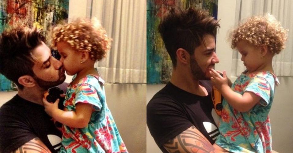 12.jan.2014 - Gusttavo Lima com sua sobrinha, sobrinha, Laura, de quatro anos, filha de sua irmã, Luciana Lima, que morreu aos 26 anos de causa desconhecida enquanto dormia em sua casa em Pato de Minas (MG), em setembro de 2012