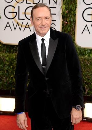 """12.jan.2014 - Kevin Spacey, indicado a melhor ator de drama por """"House of Cards"""",  chega para a edição 2014 do Globo de Ouro, em Beverly Hills - Jason Merritt/Getty Images"""
