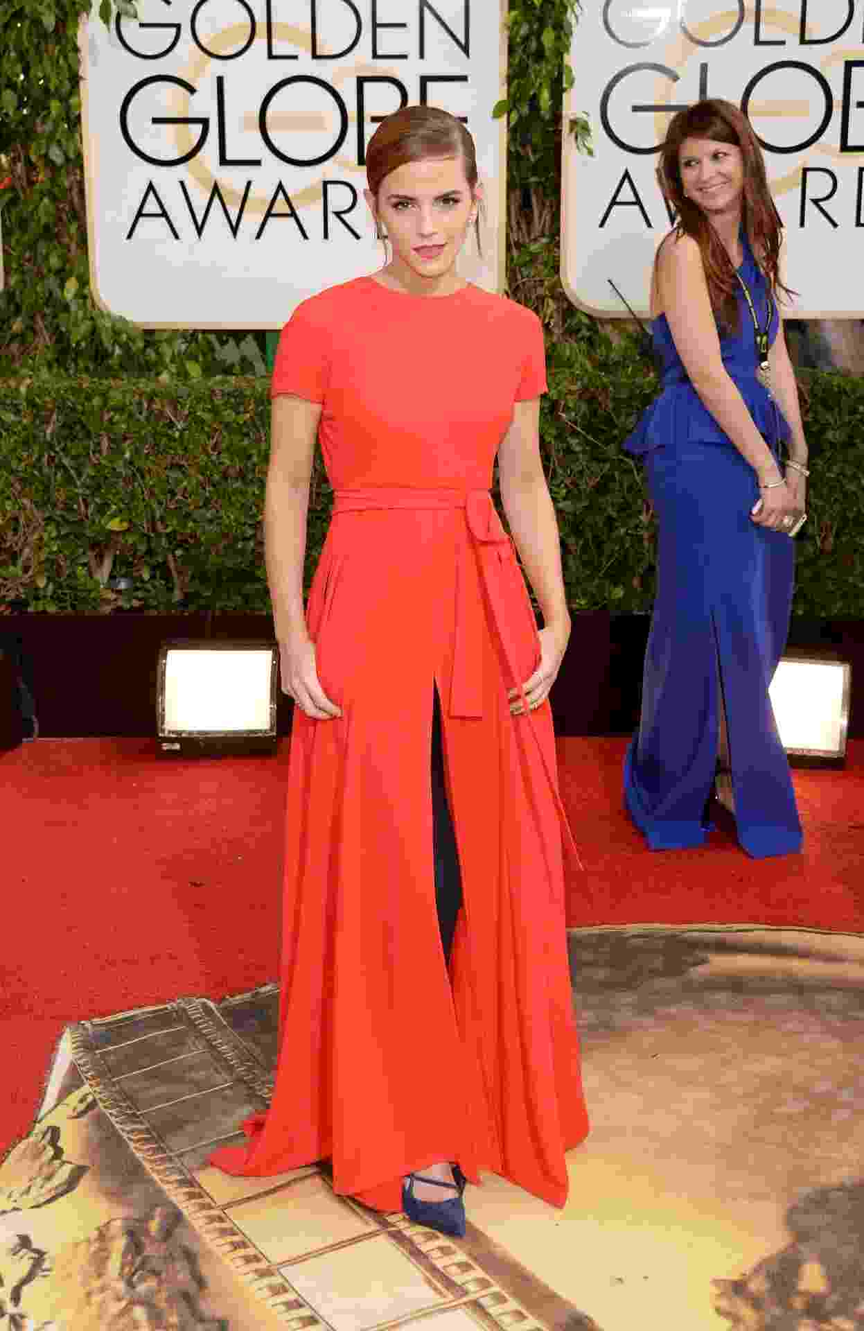 12.jan.2014 - A atriz Emma Watson posa no tapete vermelho do Globo de Ouro 2014, em Beverly Hills - Jason Merritt/Getty Images