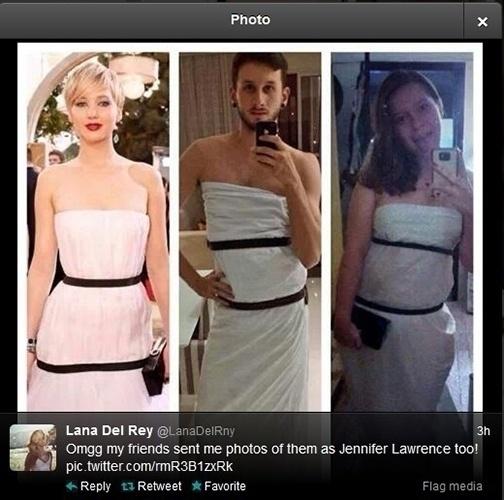 """12.jan.2014 - Internauta mostra foto de amigos seus enrolados em lençóis para ficarem parecidos com Jennifer Lawrence. """"Meu Deus, meus amigos me mandaram fotos deles como a Jennifer Lawrence também"""", brincou na legenda"""
