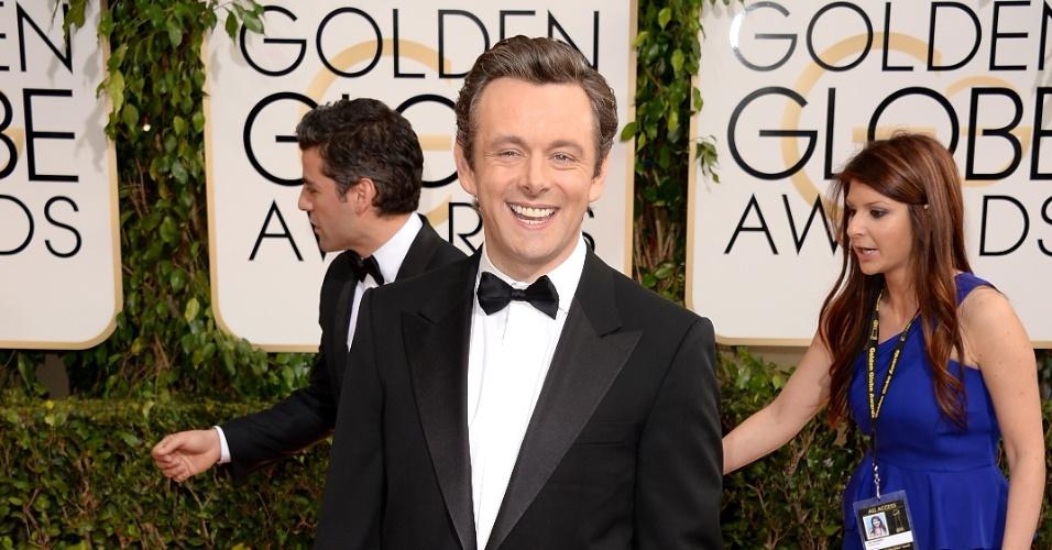 """12.jan.2014 - O ator Michael Sheen, indicado como melhor ator em série dramática por """"Masters Of Sex"""", chega ao Globo de Ouro 2014, em Beverly Hills"""