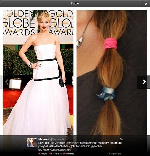 """12.jan.2014 - Usuária do Twitter compara vestido de Jennifer Lawrence no Globo de Ouro ao """"rabo de cavalo que usava na terceira série"""""""