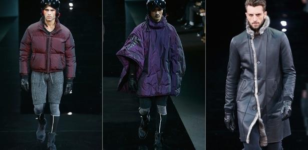 13 jan. 2014 - Modelos desfilam looks da Emporio Armani para o Inverno 2014 durante a semana de moda masculina de Milão - Getty Images