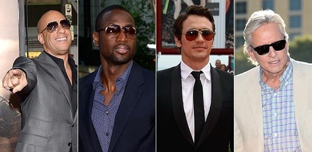 Vin Diesel, Dwayne Wade, James Franco e Michael Douglas estão entre os famosos que usaram óculos escuros para eventos formais ou casuais - Getty Images