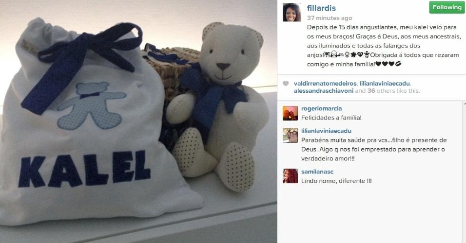 Isaber Fillardis comemora alta do filho recém nascido pelo Instagram