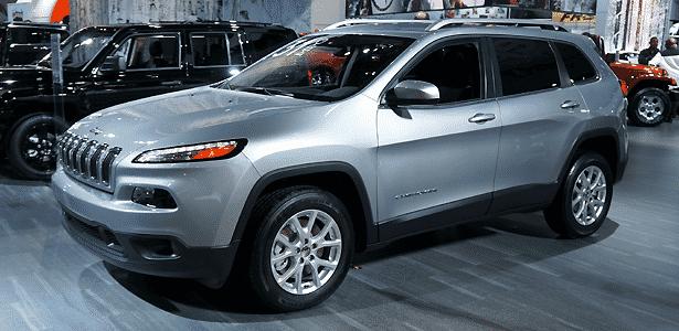 O novíssimo Jeep Cherokee em Detroit sozinho, sem visitantes, no estande da Chrysler - Eugênio Augusto Brito/UOL
