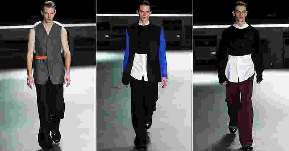 15 jan. 2014 - Modelos desfilam looks da 22/04 Hommes para o Inverno 2014 durante a semana de moda masculina de Paris - Getty Images