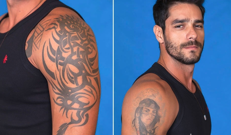 Diego leva um tribal em forma de dragão. À direita, o brother escolheu a imagem de uma índia