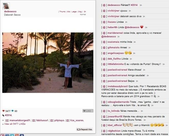 16.jan.2014 - Deborah Secco curte férias na praia
