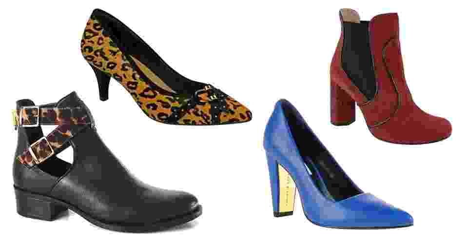 """A feira Couromoda apresentou em São Paulo entre os dias 13 e 16 de janeiro as novidades de 500 marcas de calçados e acessórios. Entre os sapatos femininos, os destaques ficaram com as botas em estilo """"cut out"""", com recortes e fivelas, além de modelos clássicos como as sapatilhas e scarpins. As cores fortes estão em alta, com destaque para o vinho e azul. A estampa animal faz sucesso entre as brasileiras e aparece em diferentes opções para o próximo inverno - Divulgação"""