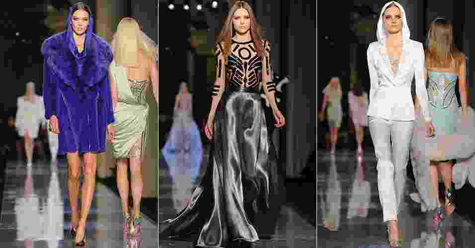 19 jan. 2014 - Modelos desfilam looks da Versace para o Verão 2014 durante a semana de alta-costura de Paris - Getty Images