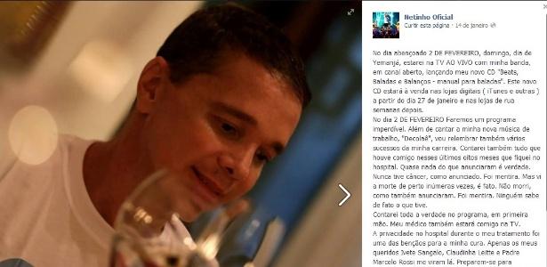 No Facebook, Netinho diz que vai a programa de TV, mas não revela qual