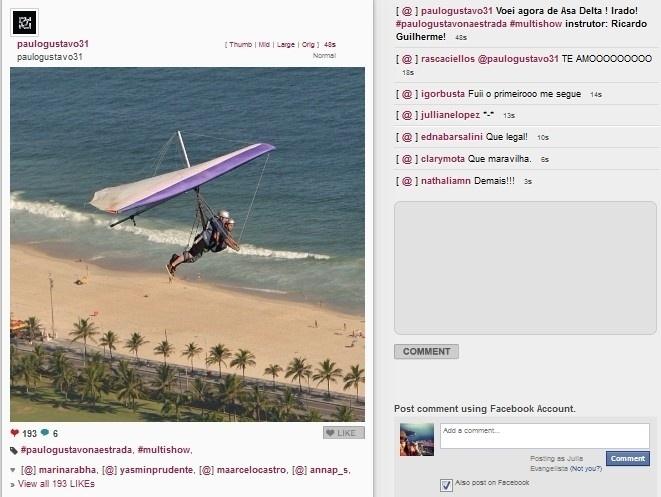 22.01.2014 - Paulo Gustavo voa de asa-delta na Praia de São Conrado, no Rio de Janeiro