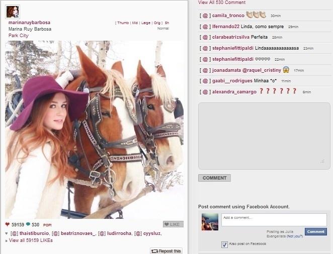 21.jan.2014 - Marina Ruy Barbosa curte férias na neve, em Utah, nos Estados Unidos, e publica imagem ao lado de cavalos, em seu Instagram