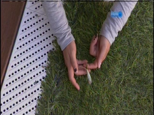 23.jan.2013 - Vanessa encontra um louva-deus no jardim da casa