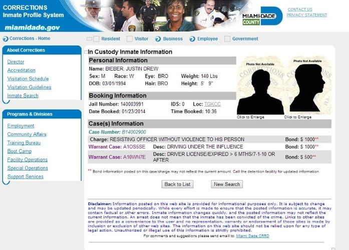 23.jan.2014 - Imagem da ficha policial de Justin Bieber. O cantor foi preso por dirigir embriagado