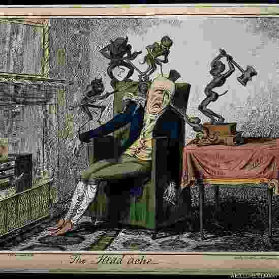 A imagem acima mostra uma forte dor de cabeça e foi publicada em 1835 - Wellcome Libray