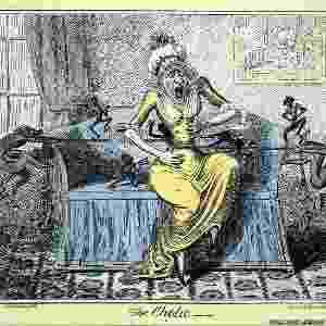 """A mulher nesta gravura de George Cruikshank (1819) sofre de cálculo e sua dor é ilustrada por demônios esticando uma corda ao redor de seu estômago. O sistema de saúde pública do Reino Unido (NHS, na sigla em inglês) descreve a doença como uma """"dor repentina e severa que normalmente dura de uma a cinco horas"""". Hoje em dia, os pacientes podem recorrer a analgésicos, ou mesmo cirurgia para retirar as pedras - Wellcome Libray"""