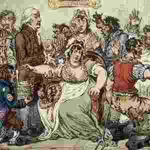"""Publicada em 1802, a maravilhosa caricatura acima retrata o médico Edward Jenner no hospital de St Pancras, em Londres. A imagem estampa o medo e o ceticismo inicial de muitos sobre a perspectiva de serem inoculados com varíola bovina para proteger-se de uma doença muito mais séria, a varíola. O termo """"vacina"""" deriva do latim 'vacca' (vaca) - Wellcome Libray"""