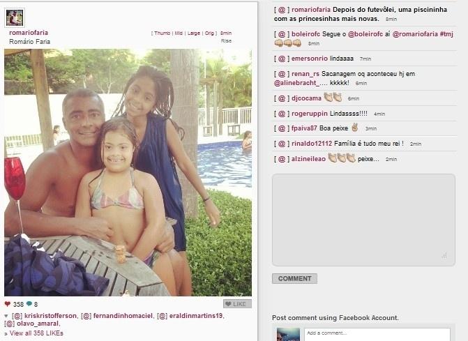 24.jan.2014 - Deputado Federal, Romário Faria, aproveita a tarde na piscina com suas filhas Isabelinha e Ivy
