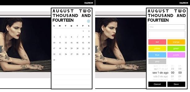 O calendário 2014 para tablets lançado pela agência de modelos Way traz fotos de tops famosas como Luciana Curtis (foto) e possibilita a organização de compromissos - Reprodução
