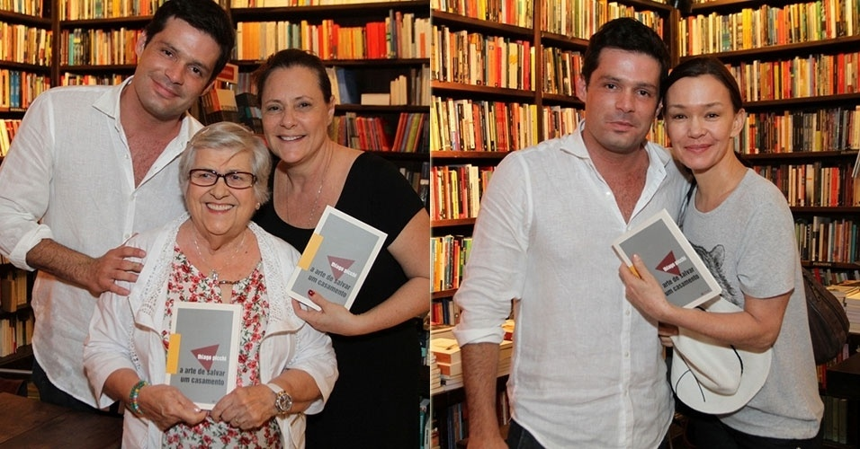 """27.jan.2014 -  Thiago Picchi com Hilda Rebello, Elizabeth Savalla e Júlia Lemmertz no lançamento de seu livro """"A Arte de Salvar Um Casamento"""" na Livraria Travessa, em Ipanema"""