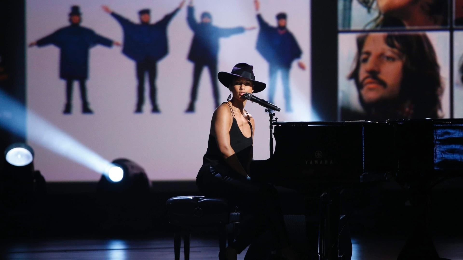 27.jan.2014 - A cantora Alicia Keys participa da gravação do especial