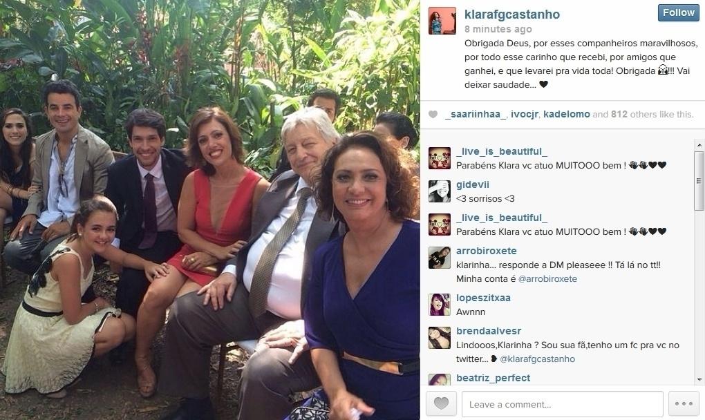 28.jan.2014 - Klara Castanho publica foto dos bastidores das cenas finais de
