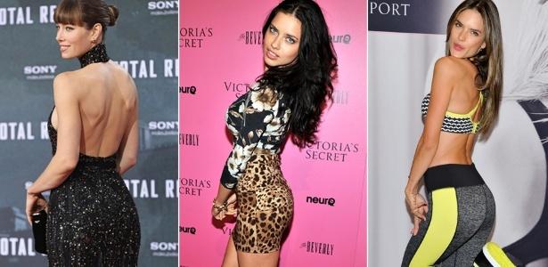 Jessica Biel, Adriana Lima e Alessandra Ambrósio têm os bumbuns mais bonitos, de acordo com Dr. Rey - Getty Images/ Montagem/ UOL