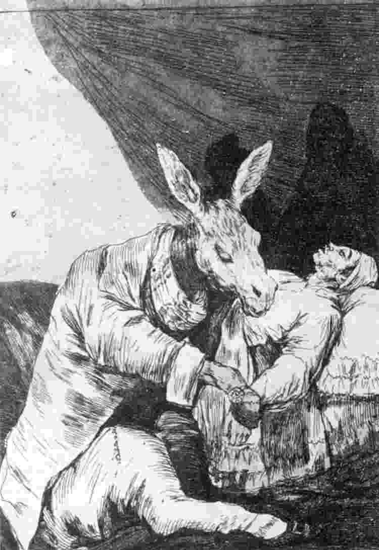 """Gravura de Francisco de Goya, parte da série """"Los caprichos"""" - Reprodução"""