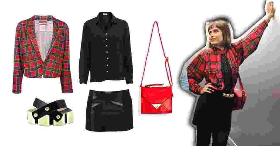 """Um dos primeiros looks usados na novela """"Amor à Vida"""" por Patrícia (Maria Casadevall) foi o de saia e camisa preta com blusa xadrez vermelha por cima. Logo no começo, a personagem já mostrava ser moderna e curtir estampas, sobreposições e acessórios - Divulgação"""