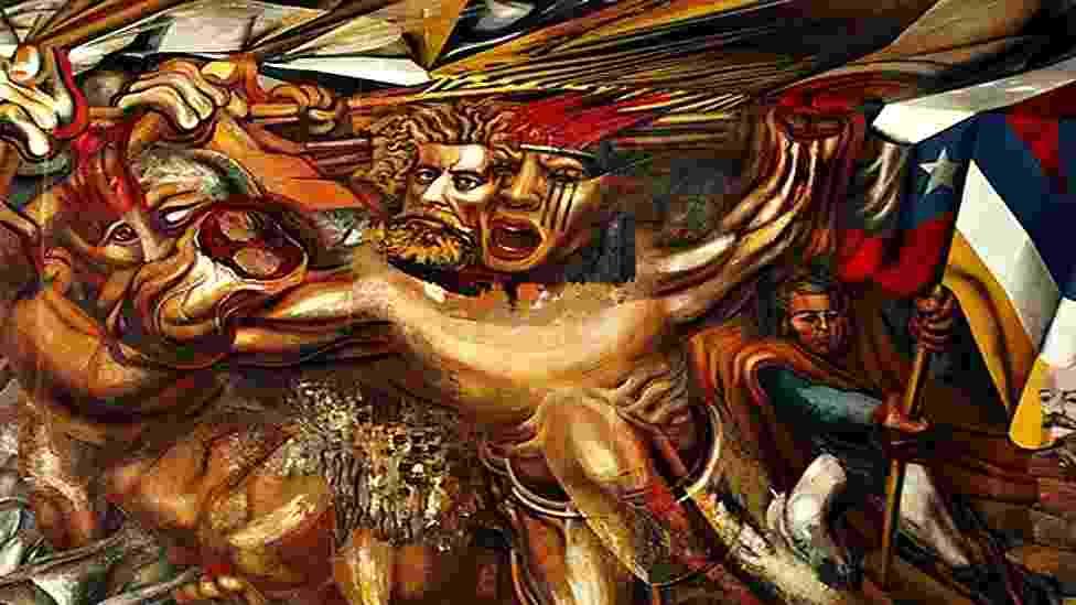 Obra 'Muerte al invasor' (1941), criada durante o exílio de David Alfaro Siqueiros no Chile - Luis Garza
