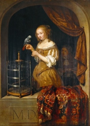"""Reprodução do quadro """"A Senhora na Janela"""" (1666), de Caspar Netscher - Reprodução/Von der Heydt Museum Wuppertal"""