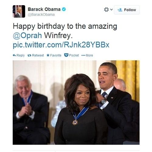 """29.jan.2014 - O presidente dos Estados Unidos Barack Obama deseja feliz aniversário a Oprah. """"Feliz aniversário para a incrível Oprah Winfrey"""", escreveu sobre a apresentadora que completa 60 anos"""